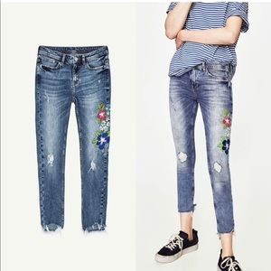 Zara TRF Floral Embroidered Denim Ripped Jeans 06